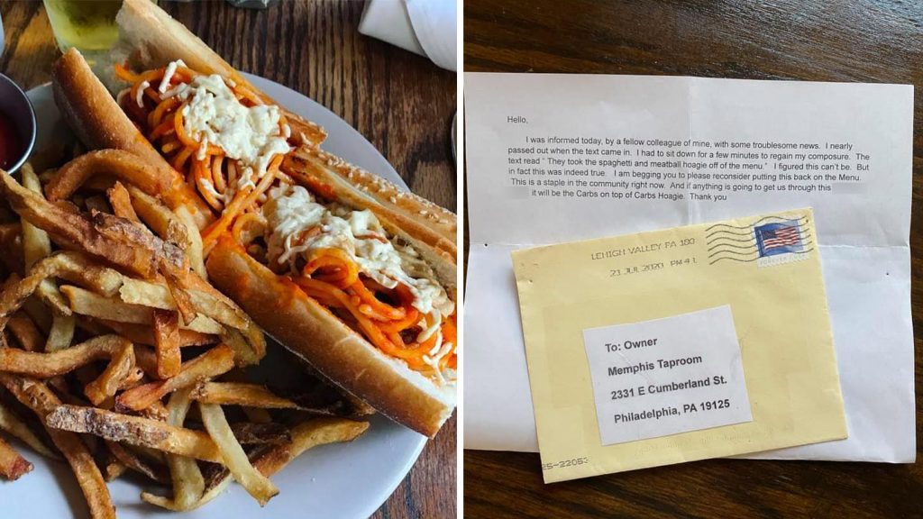 Memphis Taproom's erstwhile spaghetti sandwich; anonymous letter