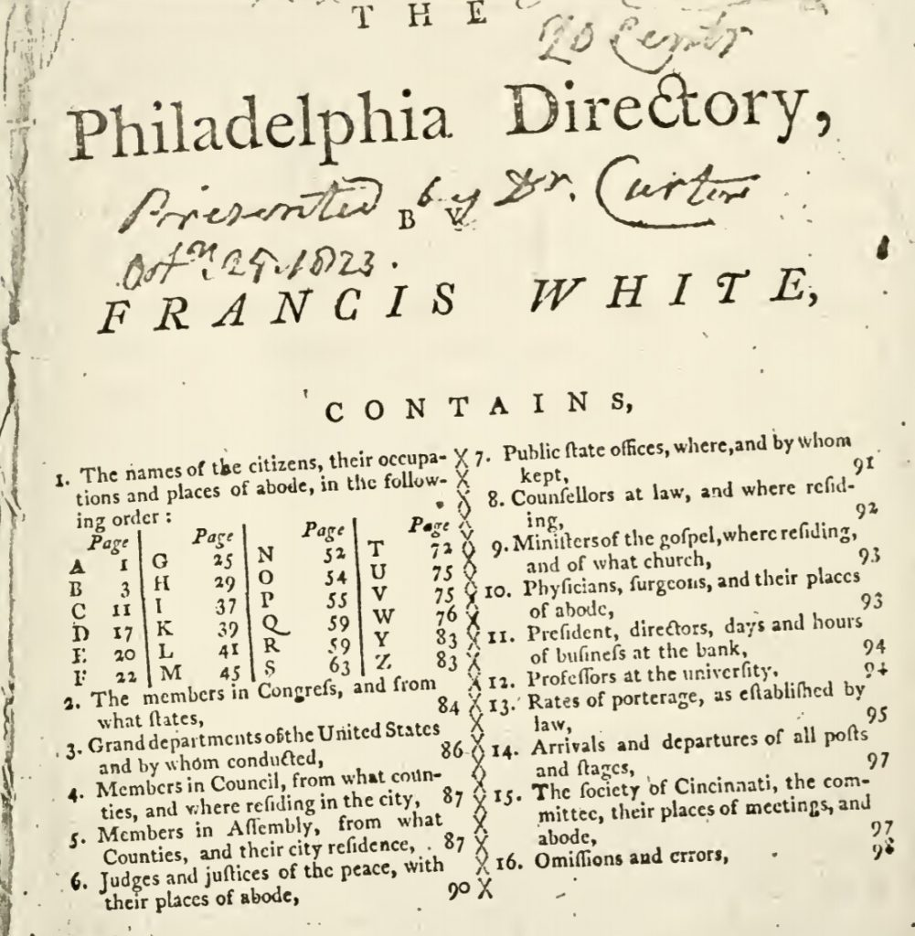 The first town directory of Philadelphia