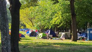 Tents at the Parkway encampment in late August