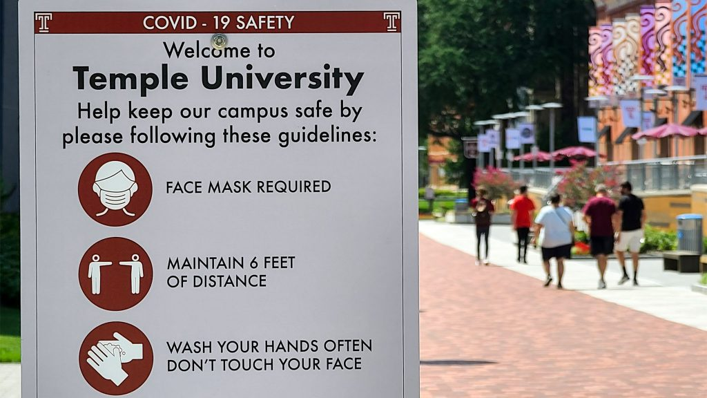 Signs with safety precautions are posted all over Temple's North Philly campus