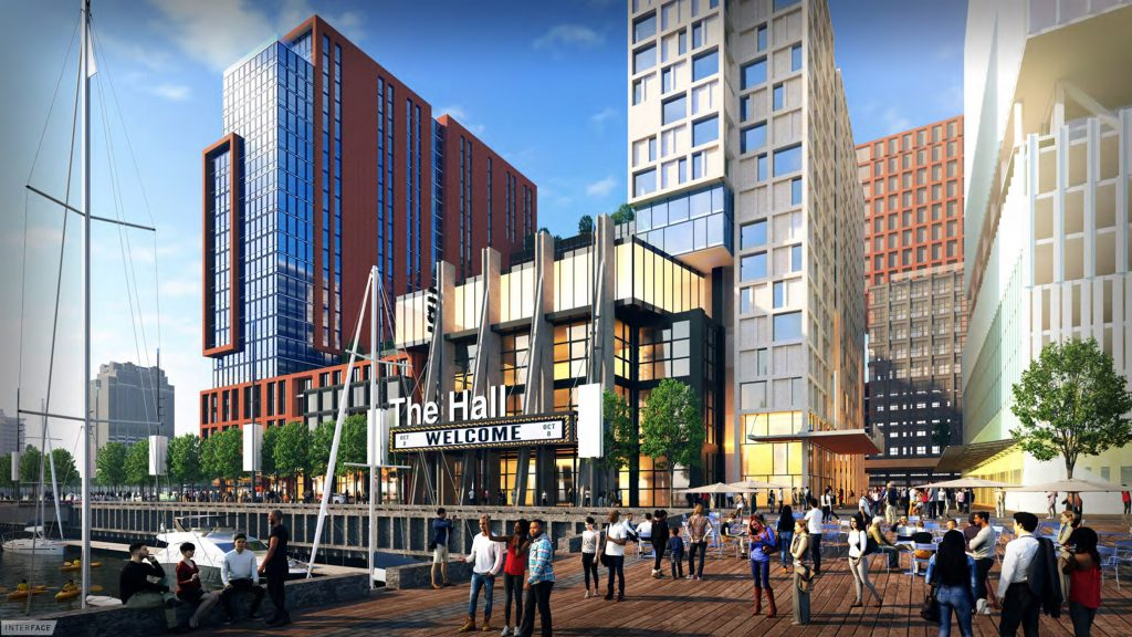 In Hoffman's proposed development at Penn's Landing, a concert hall and restaurants would sit among towers with residential and commercial space