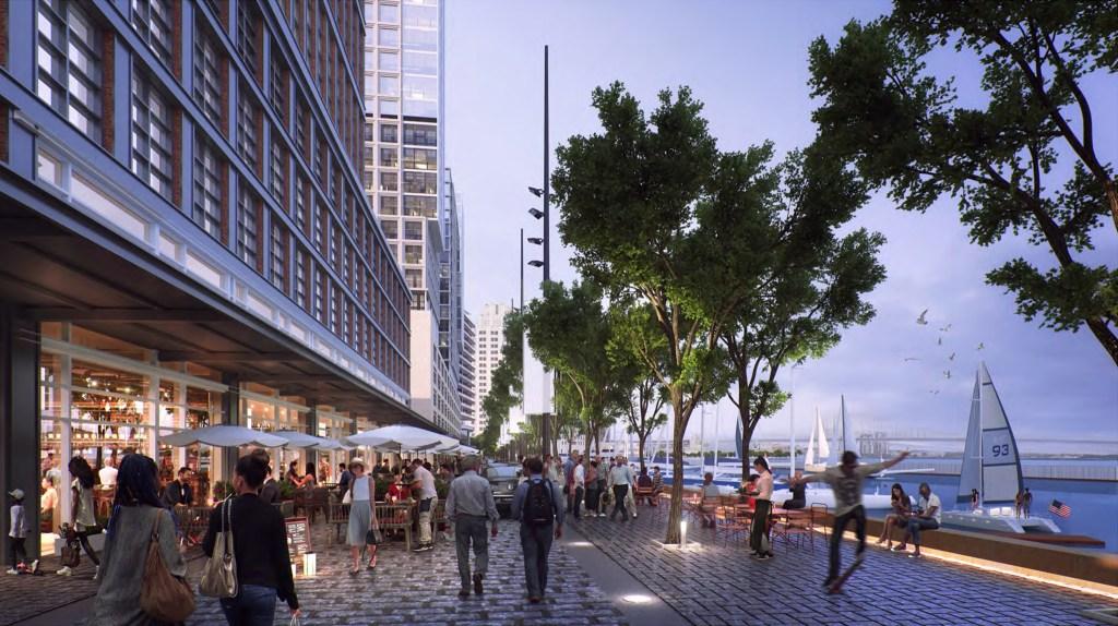 Waterside view rendering of Hoffman's proposed development at Penn's Landing