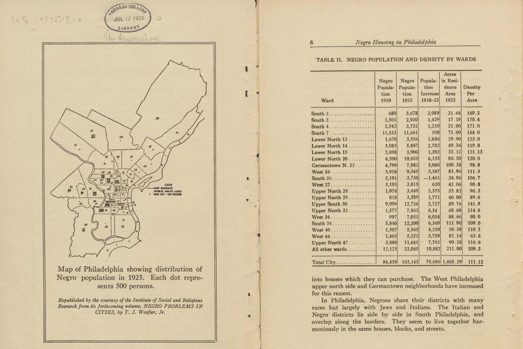 Pages from 1927's 'Negro Housing in Philadelphia'