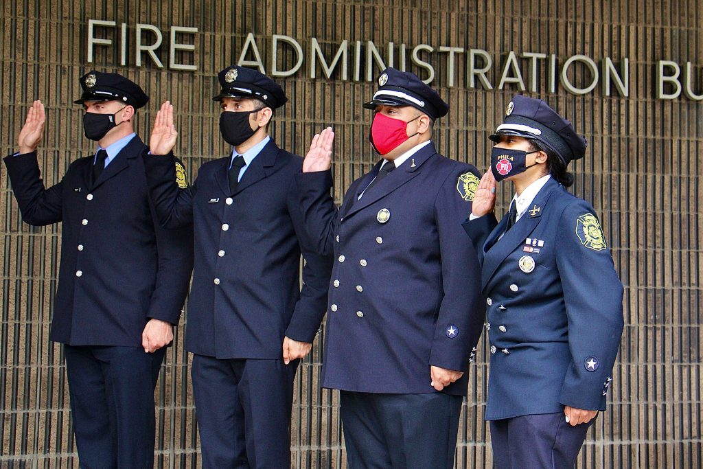 Then-Capt. Lisa Forrest stands with other officers being promoted within the Philly Fire Dept.