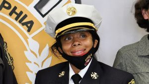 PFD Battalion Chief Lisa Forrest, after her swearing in ceremony