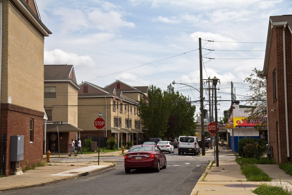 The intersection of 10th and Brown in Philadelphia's Poplar neighborhood