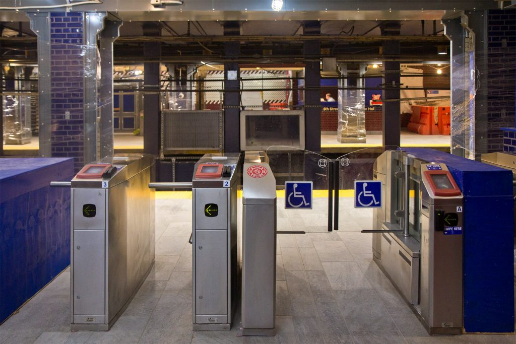 New entrance tiling and kiosks at 5th Street Station