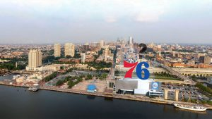 The proposed Sixers arena would be located at Penn's Landing (not to scale)