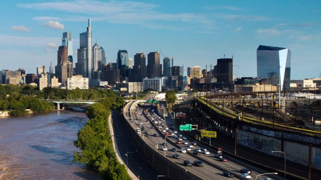 The Schuylkill Expressway brings travelers from the western suburbs through along the river on their way into Philadelphia. Traffic along this stretch is down nearly 20% because of the pandemic, according to transportation authorities.