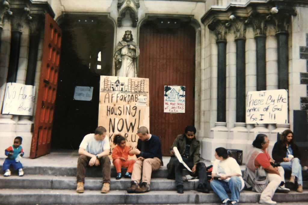 Outside St. Edward's church in 1995.