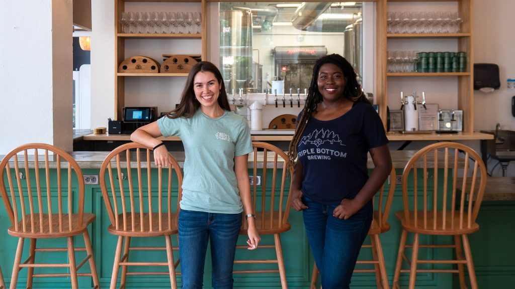 Triple Bottom Brewing cofounder Tess Hart (L) and general manager Sola Onitiri, just before the September 2019 launch