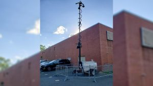 A surveillance camera unit installed outside the city's election storage where in East Falls