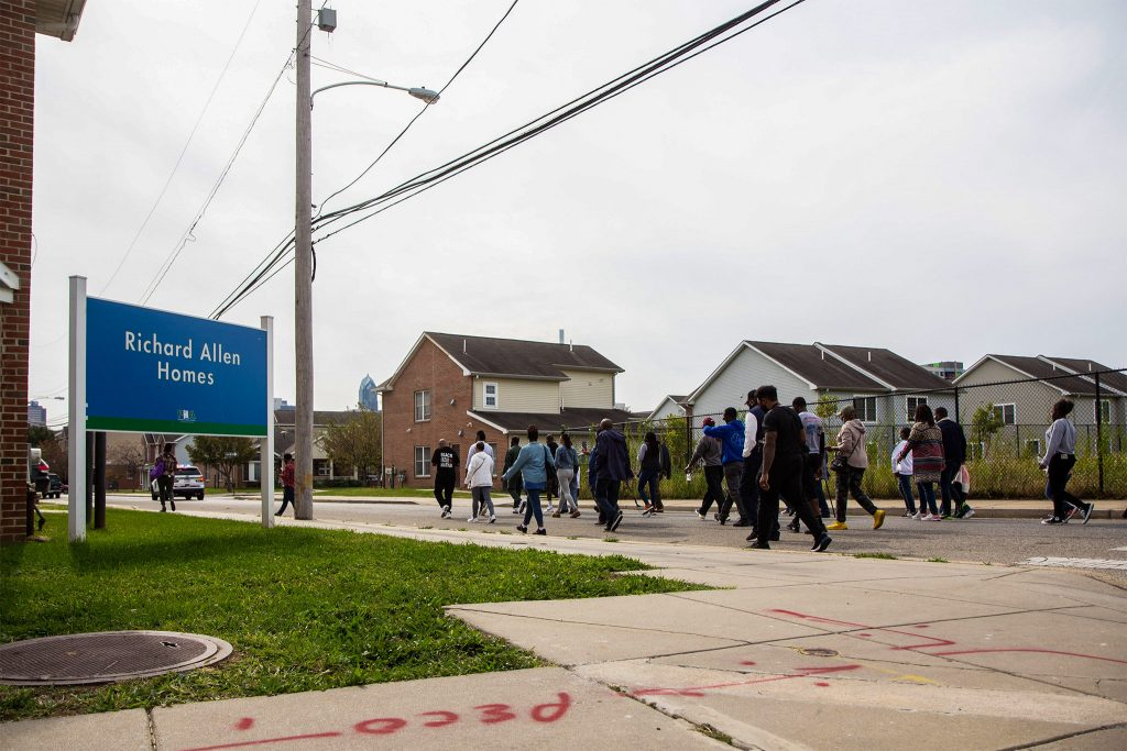 The peace walk moves through Richard Allen Homes
