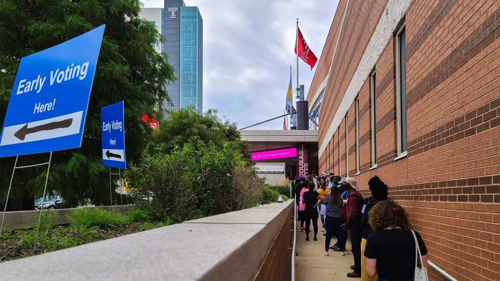 Voters in line at the Liacouras Center satellite election office in late October