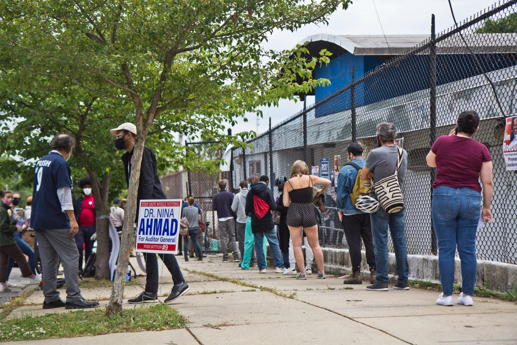 Voters line up during the 2020 June primary in Philadelphia
