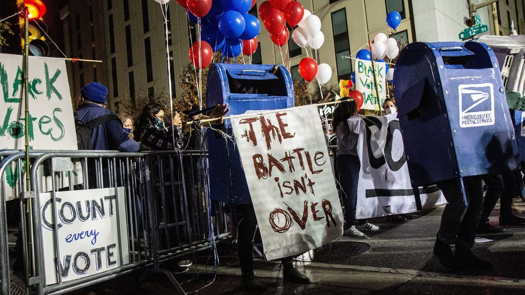 Dancing mail boxes were present at a rally in Philadelphia demanding the count of every vote
