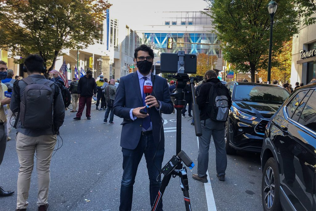 Sky News Italy reporter Fabio Russomando outside Philly's vote-counting operation on Friday