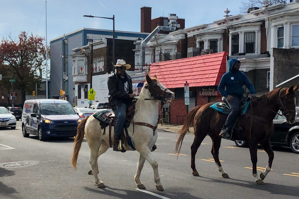 Urban riders from North Philly's Fletcher Street Stables held a last-minute GOTV ride in West Philly on Tuesday