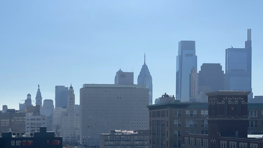 Pollution caused a noticeable haze over the Philly skyline on Monday