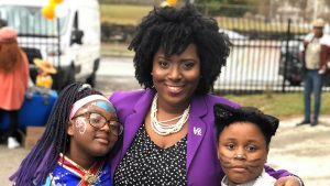 State Rep. Joanna McClinton in 2019, with constituents at the fall festival in her native Southwest Philadelphia