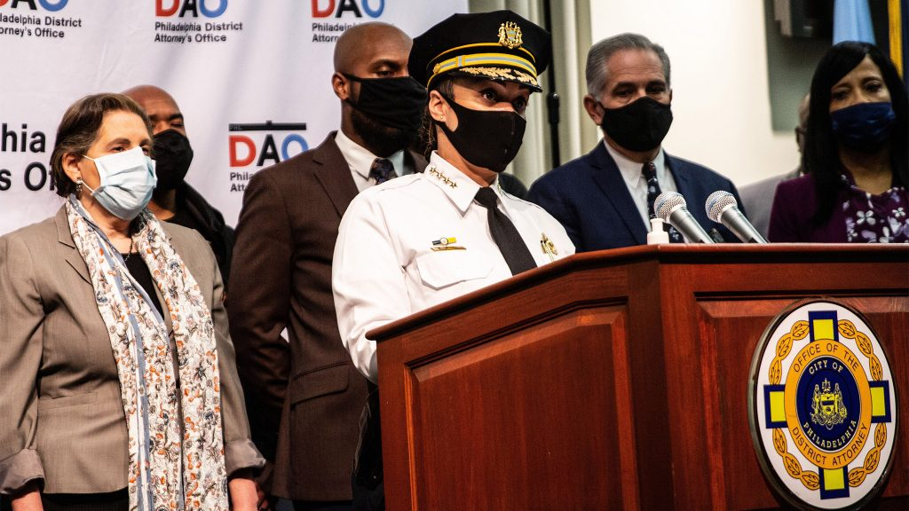 Police Commissioner Danielle Outlaw at a November 2020 press conference announcing the names of the officers who shot and killed Walter Wallace Jr.