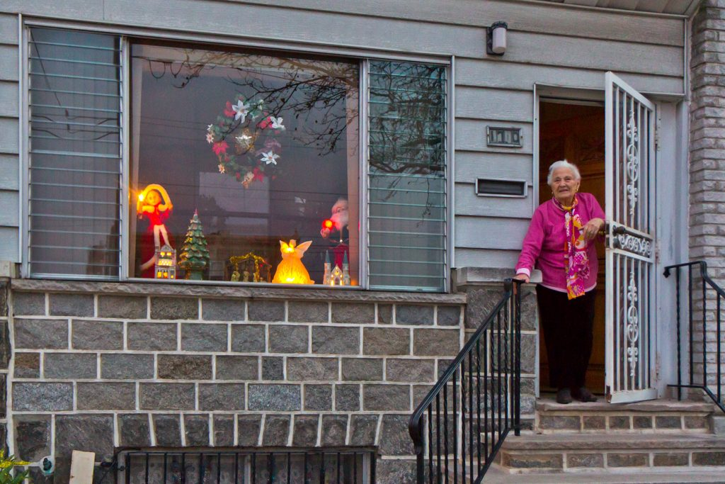 Maria Mantelone on West Oregon Avenue said her holiday window is a work in progress