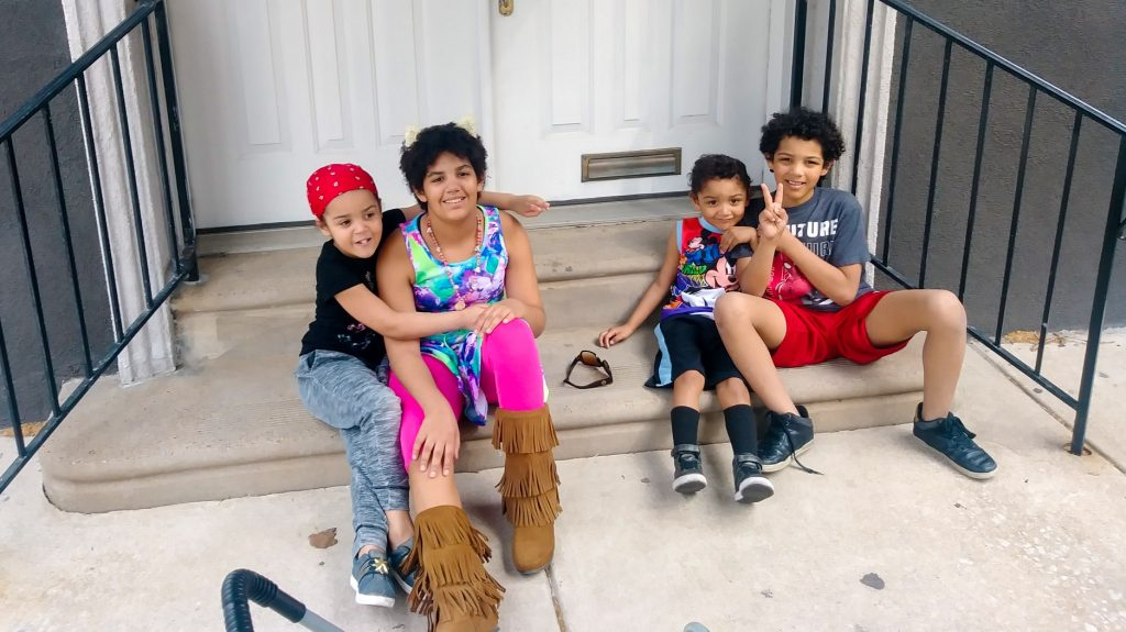 The four youngest Quinn family children, who are moving back to a shelter