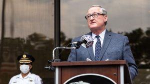 Philadelphia Mayor Kenney at the June 2020 press conference where he first professed regret over authorizing the use of tear gas on protesters
