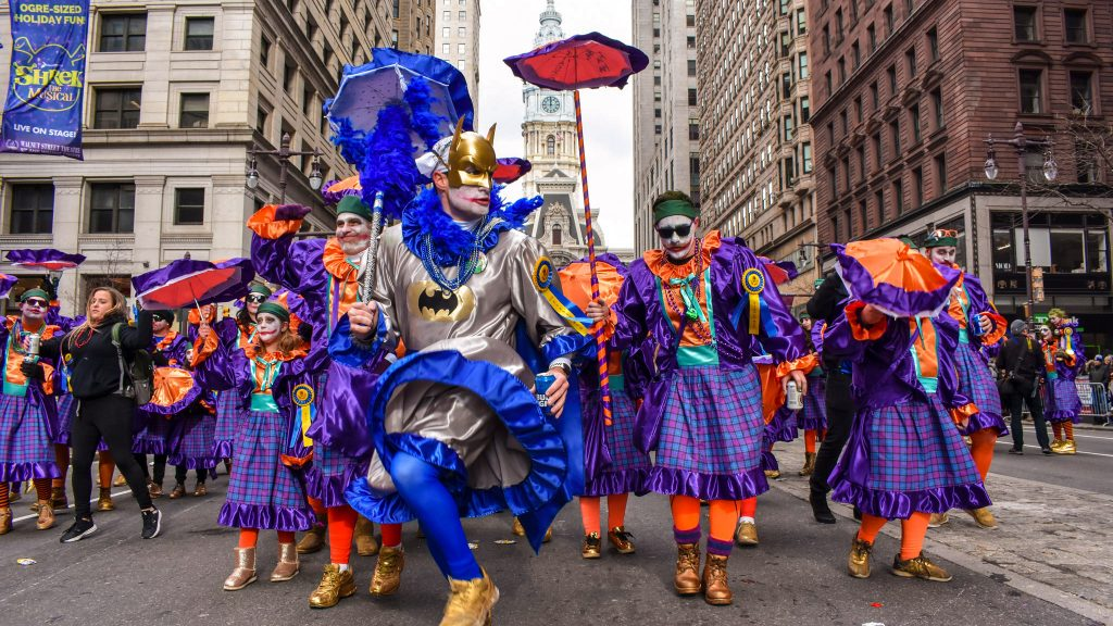 A scene from the 2020 Mummers Parade, which is canceled this year due to the coronavirus