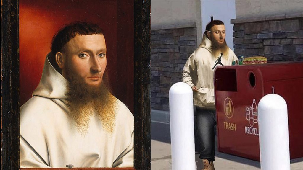 Left: 'Portrait of a Carthusian' by Petrus Christus, 1446; Right: Just another NE Philly dude
