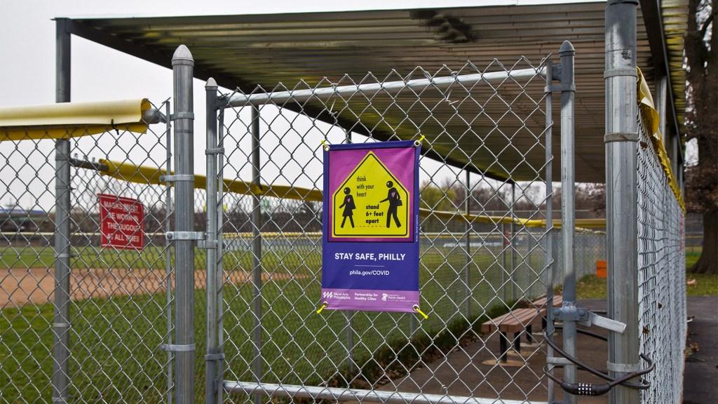 Locked gates at FDR Park's ballfields