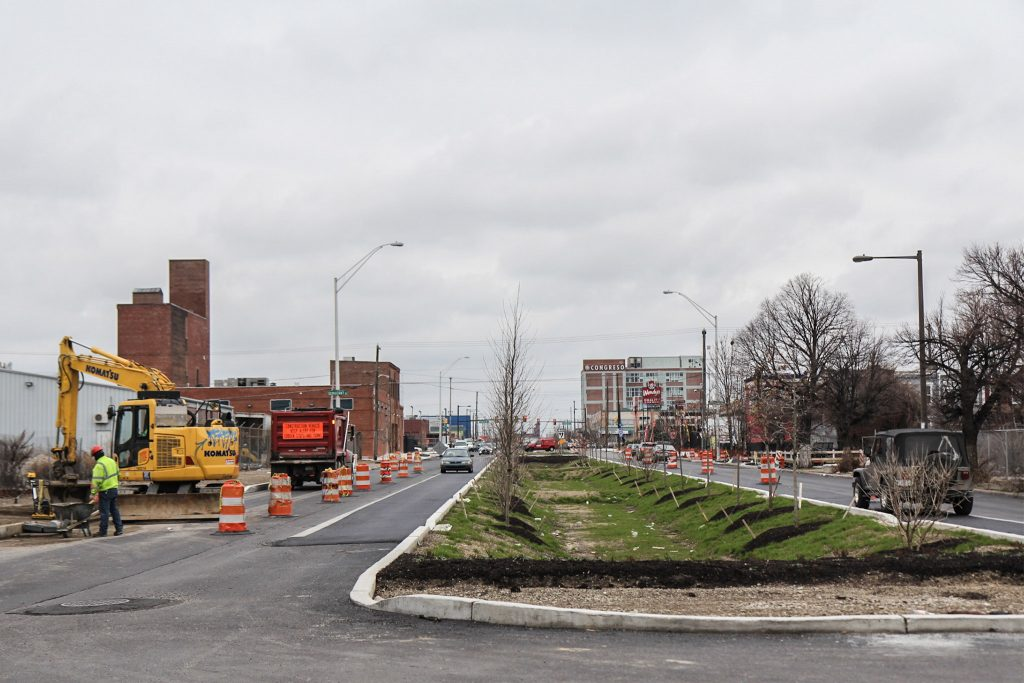 Construction forces cars onto the raised bike lane South of Lehigh