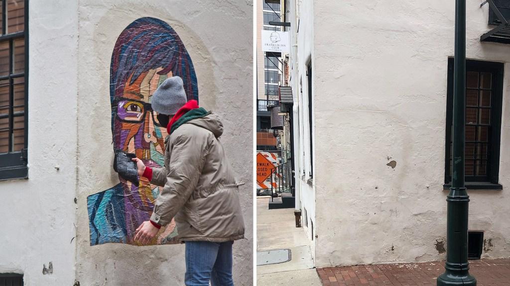 Artist Tish Urquhart put up her Casarez tribute Wednesday morning. Thursday evening, it was gone.