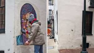 Artist Tish Urquhart put up her Casarez tribute Wednesday morning. Thursday evening, it was gone.