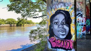 A tribute to Breonna Taylor at Graffiti Pier in June 2020