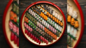 The 104-piece nigiri plate at Royal Izakaya, available by request only — if the chef is willing