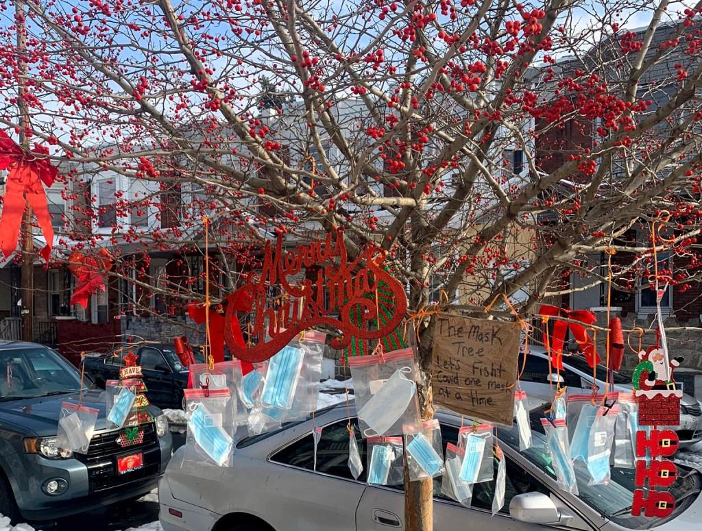 Darlene Burton's 'mask tree' empties each time she restocks it
