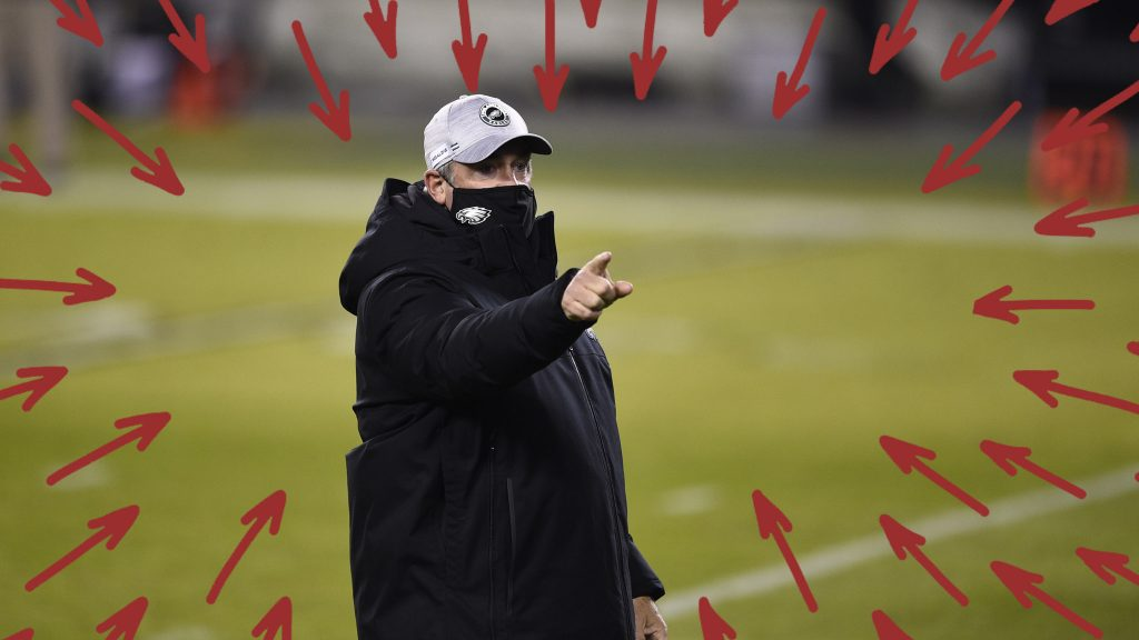 Eagles head coach Doug Pederson walks the field before the fateful game against Washington