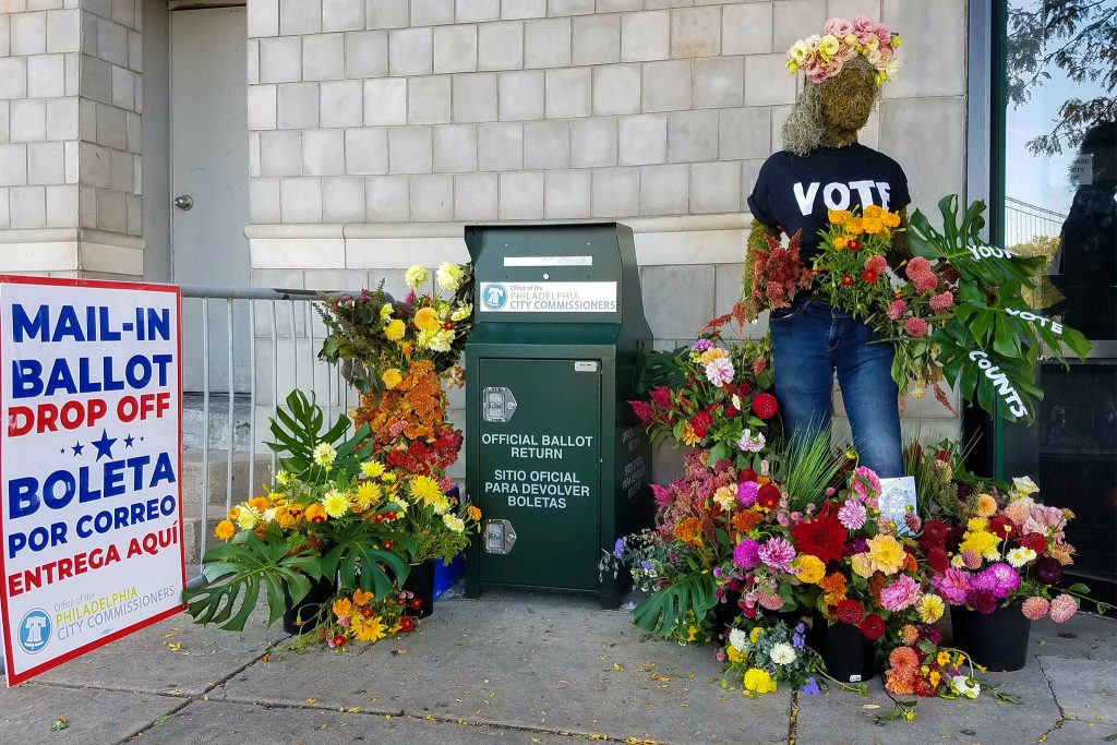 Jig-Bee Flower Farm decorated the ballot drop box at Delaware and Spring Garden