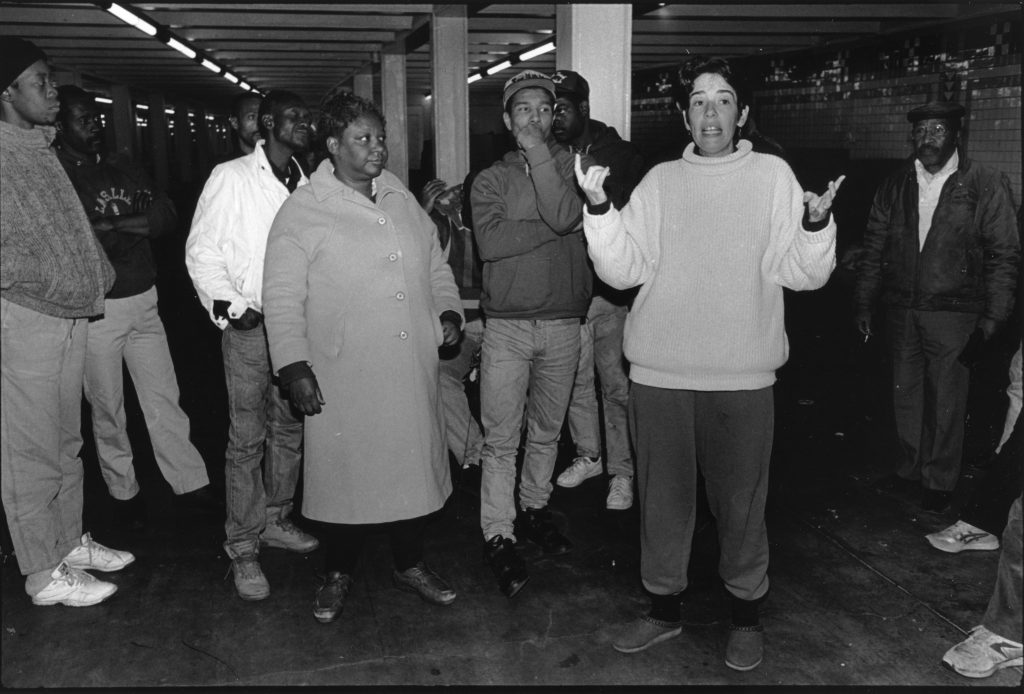 Sister Mary Scullion of Project HOME and other activists in the Suburban Station concourse, where Mayor Rendell's administration shut down a sprawling encampment in 1993.