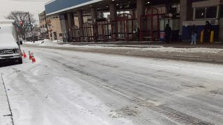 A photo of Olney Transportation Center Wednesday morning showed few commuters in the falling snow