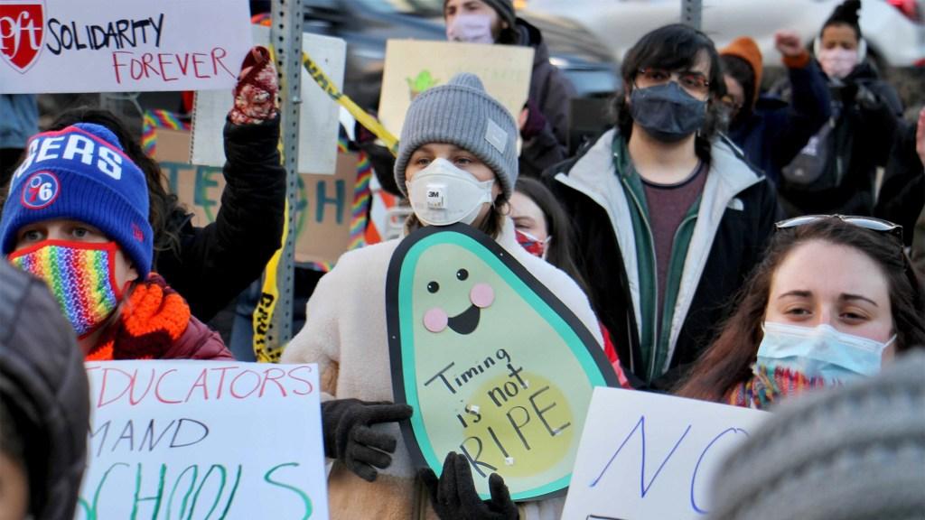 Public school teachers rallied outside district HQ on North Broad Street