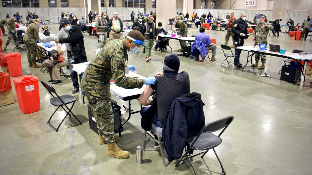 The FEMA's mass vaccination site at the Pennsylvania Convention Center
