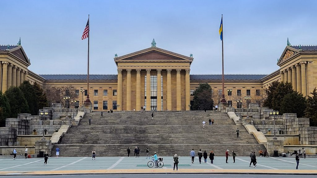 The steps of the Philadelphia Art Museum are considered part of Fairmount Park