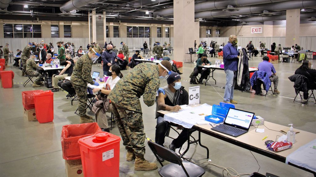 FEMA's mass vaccination site at the Pa. Convention Center