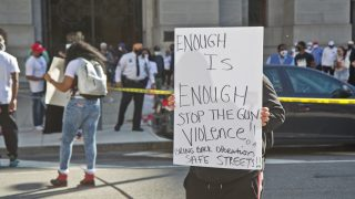 An anti-violence rally in March 2021 at Philadelphia City Hall