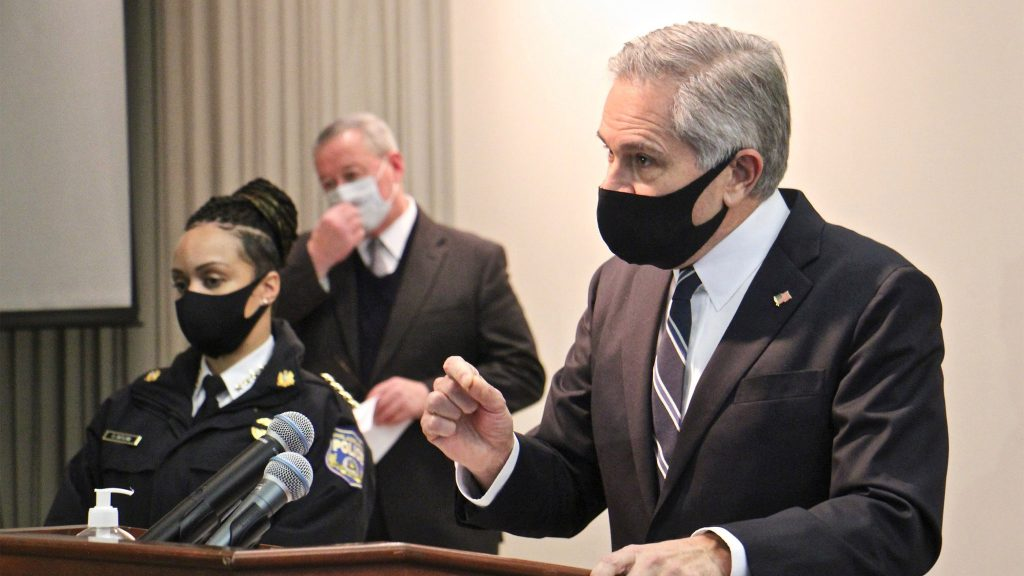 Philadelphia District Attorney Larry Krasner at a January 2020 press conference with Police Commissioner Danielle Outlaw and Mayor Jim Kenney