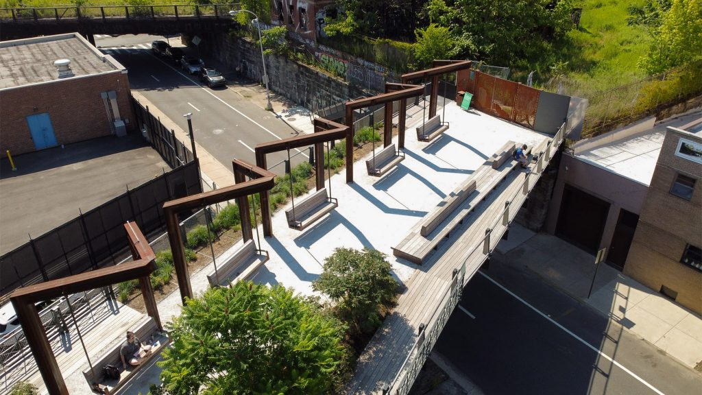 The Rail Park sits above street level in the middle of Philadelphia