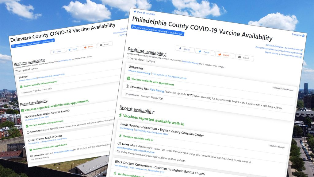 Vaccinate PA offers a county-by-county breakdown of potential vaccine appointments for eligible residents