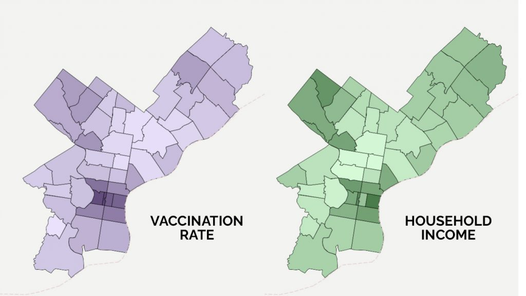 As of March 10, the distribution of vaccine in the Philadelphia closely mirrors the distribution of wealth